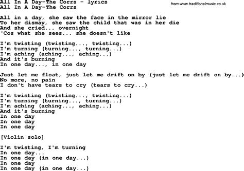 day lyrics in song lyrics for all in a day the corrs