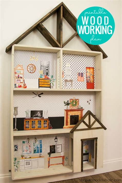 diy dollhouse bookcase woodworking plans printable
