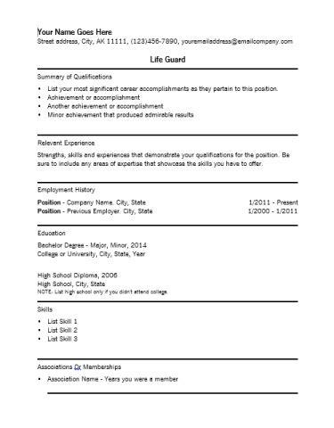 9 best lifeguard resume sle templates wisestep