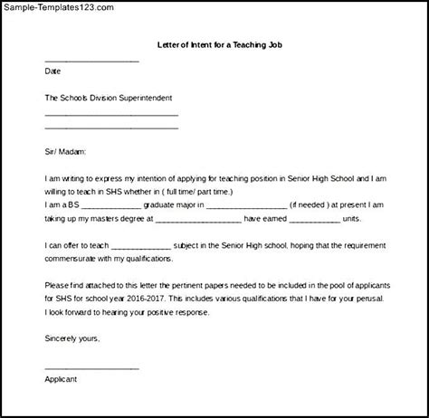 letter of intent for a teaching ms word for free sle templates sle templates