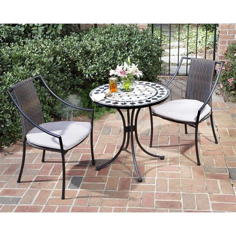 Home Styles Black And Tan 3 Piece Tile Top Patio Bistro Bistro Style Patio Furniture