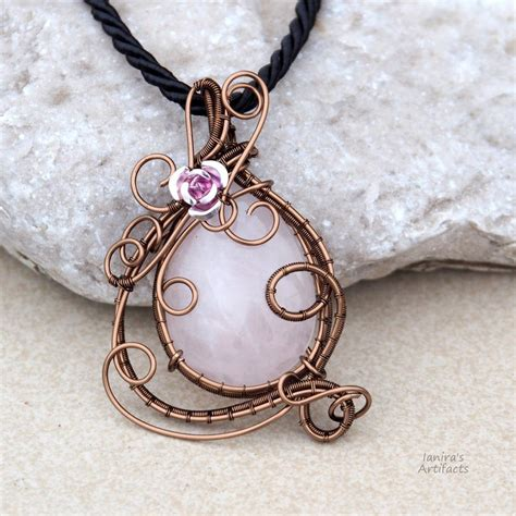 pendants for jewelry quartz wire wrapped pendant ooak by