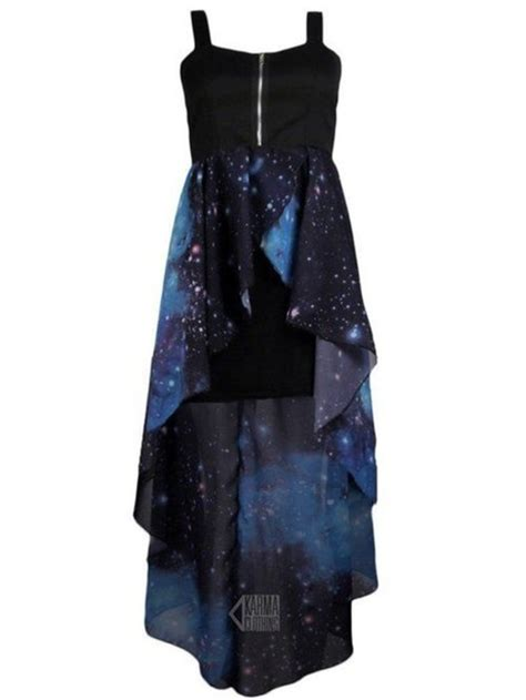 galaxy print black dress blue prom homecoming casual