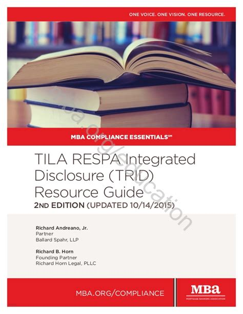 Mba Compliance by Mba Compliance Essentials Tila Respa Integrated Disclosure