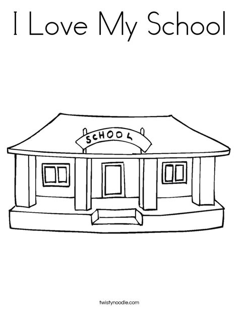 coloring page school building i love my school coloring page twisty noodle