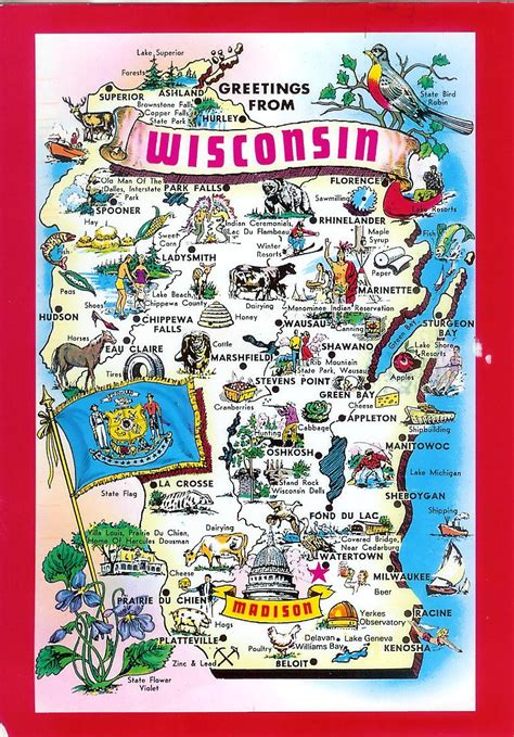 Wisconsin Brewery Map by Usa Wisconsin Remembering Letters And Postcards