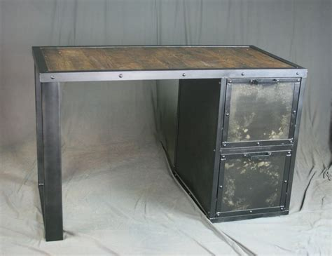 Buy Custom Made Vintage Industrial Desk With File Cabinet Reclaimed Wood File Cabinet