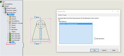 solidworks section view exclude hatching in section views with the solidworks