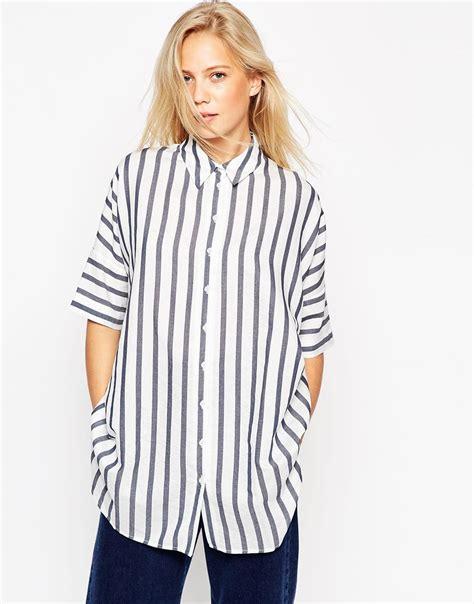 Striped Oversized Shirt lyst asos oversized stripe boyfriend shirt