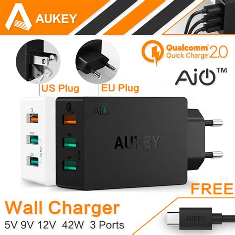 Aukey Usb Turbo Wall Charger 1 Port 18w Pa U28 Hitam aukey original charge 2 0 usb wall charger 3 port smart fast turbo mobile charger for