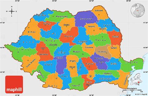 political map of romania political simple map of romania single color outside