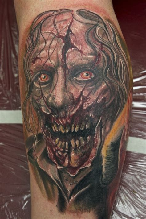 zombie tattoo gallery zombie tattoo on leg by graynd tattooimages biz