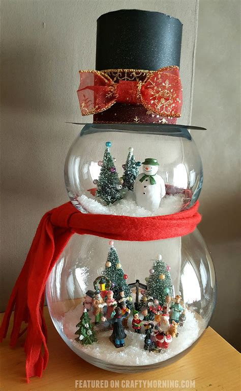clever white christmas tree decorating ideas crafty morning fish bowl snowman craft crafty morning
