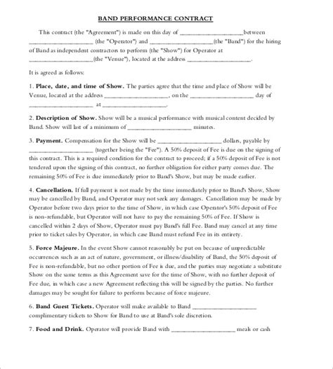 band contract template band contract template 17 free sles exles format