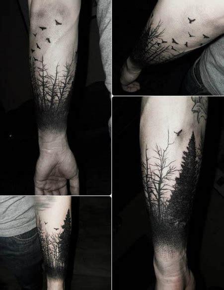 Birds Fly Away From Wood Blackwork tattoo   Best Tattoo Ideas Gallery