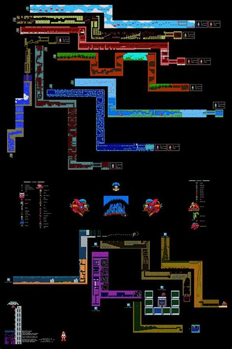 legend of zelda ii map mega man ii 2 all stages poster map 24 quot x 36 quot for the