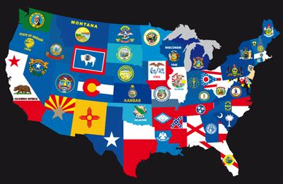 usa map states flags october 2009 template