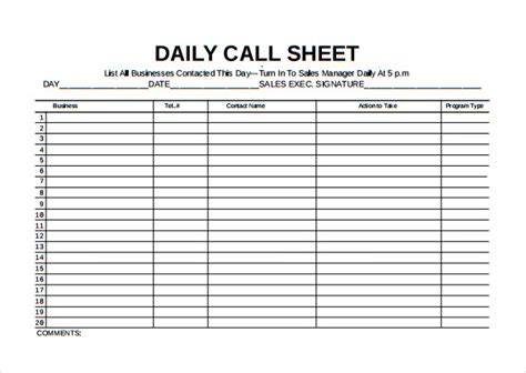 Daily Call Sheet Template sales call tracker spreadsheet