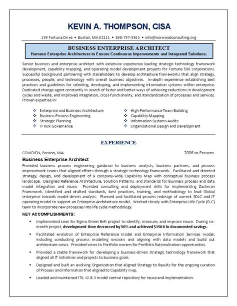 IT Resume, Engineering Sample Resume, Business Architect