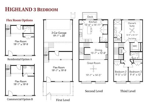 3 bedroom townhouse floor plans highland 3 bedroom live work townhome at berry far floor