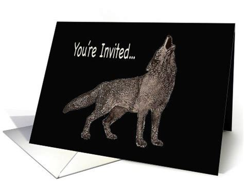 printable wolf birthday cards watercolor painting of a howling wolf party invitation card