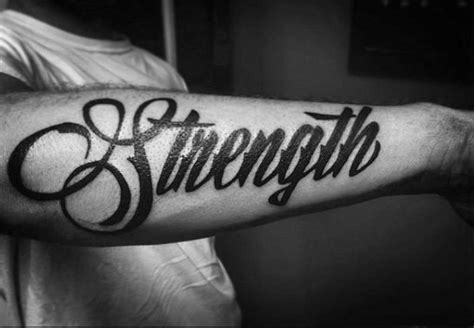 forearm tattoos for men words 60 strength tattoos for masculine word design ideas