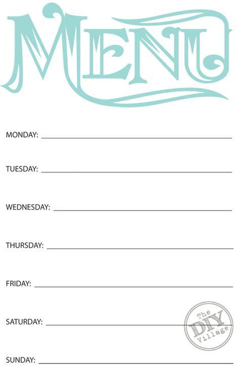 printable weekly menu planner diy village