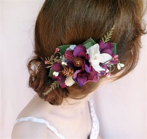 Wedding Hair Accessories Purple by Eggplant Hair Accessories Rustic Bridal Hairpiece Purple