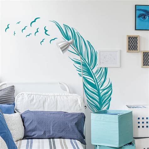 Flying Birds Wall Stickers feather with flying birds wall sticker by sirface graphics