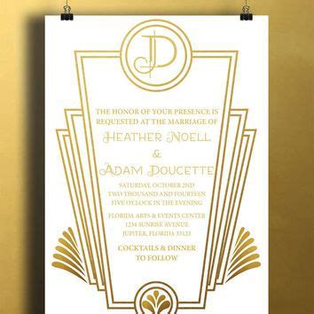 Instant Download White Gold Art Deco Great Gatsby Vintage Diy Printable Birthday Party Baby Girl White And Gold Invitation Templates