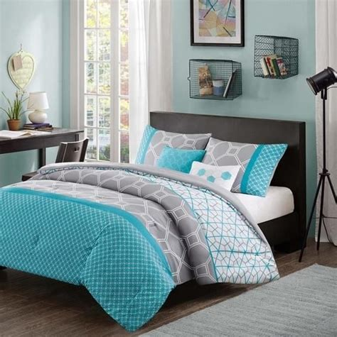 teen girl comforter set girls teen aqua blue gray white hexagon geometric