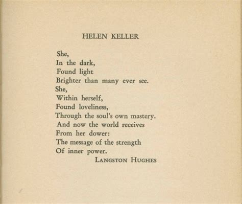 biography of helen keller in short langston hughes poem about helen keller harlem