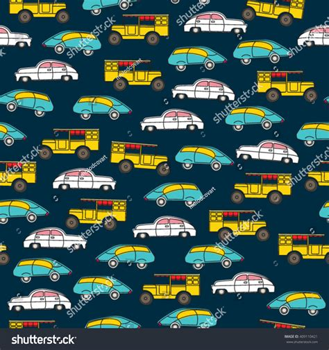 traffic pattern en espanol seamless pattern boys retro toy cars stock vector