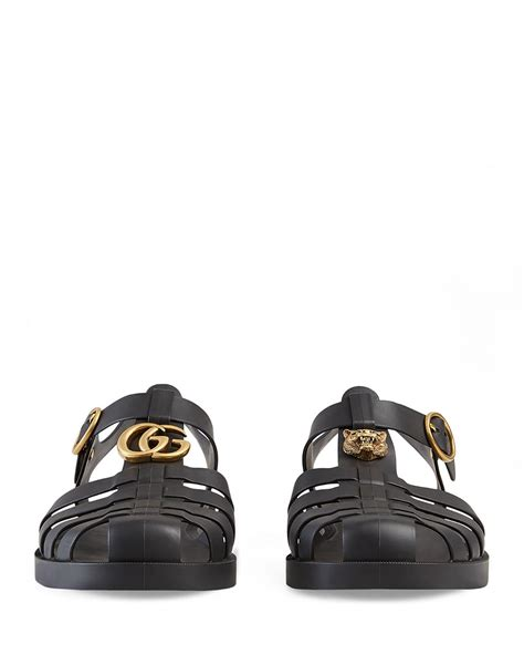 Gucci Buckle Sandals by Gucci Rubber Buckle Sandal In Black For Lyst