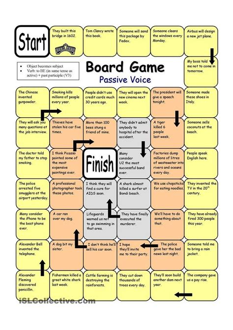 printable grammar card games board game passive voice worksheet free esl printable