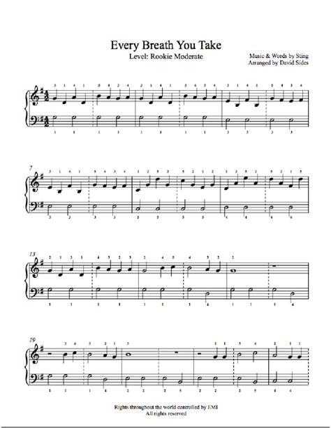 every breath you take testo every breath you take by the piano sheet