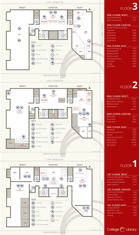 University Library Floor Plan by Floor Plans College Library