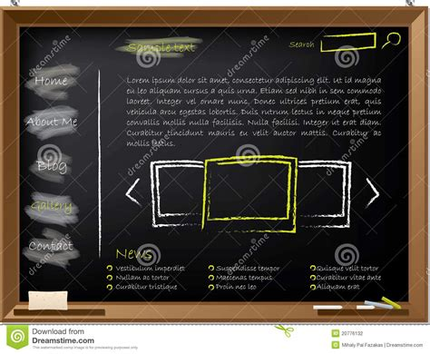 Website Template Design On Blackboard Stock Vector Image 20776132 Blackboard Website Templates