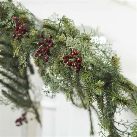 artificial pine and cedar garland table decor