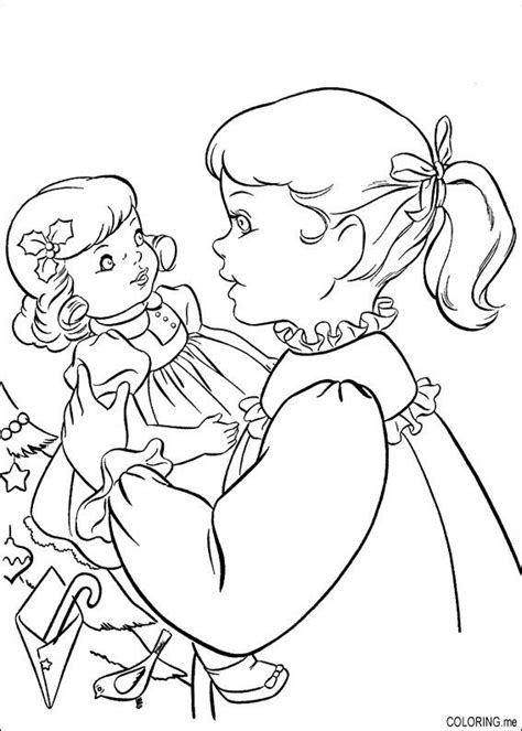 coloring page christmas girl and doll coloring me