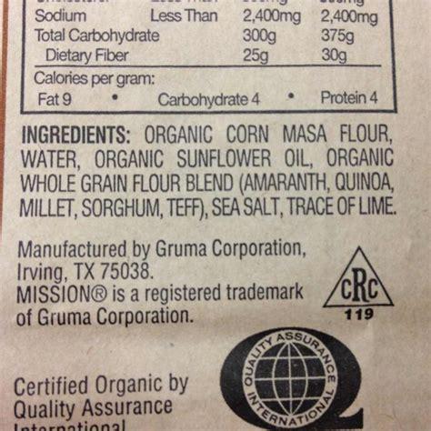 1 whole grain tortilla calories mission organic multigrain tortilla chips calories
