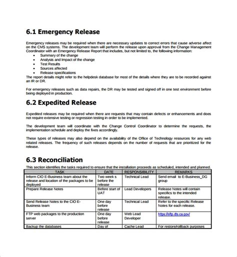 8 Release Plan Templates Sle Templates Release Plan Template