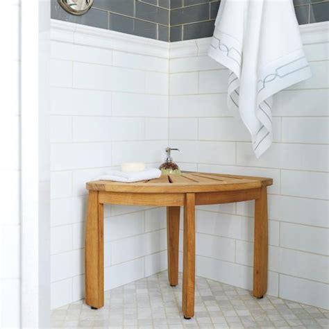teak corner shower seat with basket spa teak corner shower seat with basket frontgate