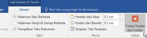 desain header dan footer menambahkan nomor halaman x dari y ke dokumen word