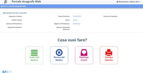 ufficio scelta e revoca portale dei servizi anagrafe asp azienda sanitaria