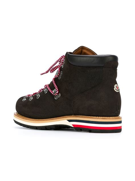 moncler boots moncler classic lace up leather boots in brown for lyst