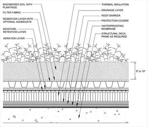 roof garden detail section the nrca green roof systems manual 2007 building with