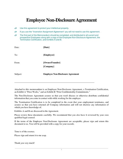 patent non disclosure agreement template 8 best images of intellectual property protection