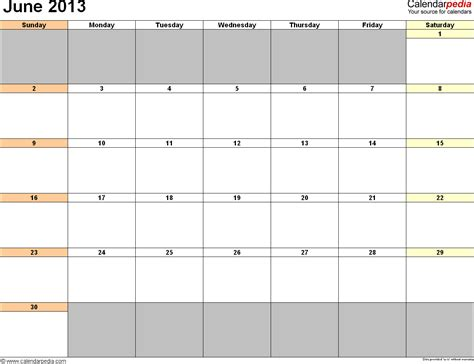 june 2013 calendar printable template