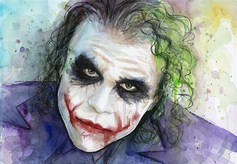 acrylic painting of joker the joker watercolor painting by olga shvartsur